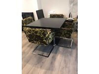 Black Wooden Dining Table and 4x Chairs Good Condition