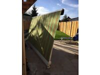 Used Manual Awning Canopy Patio Garden Sun Shade Shelter Green Rain Cover