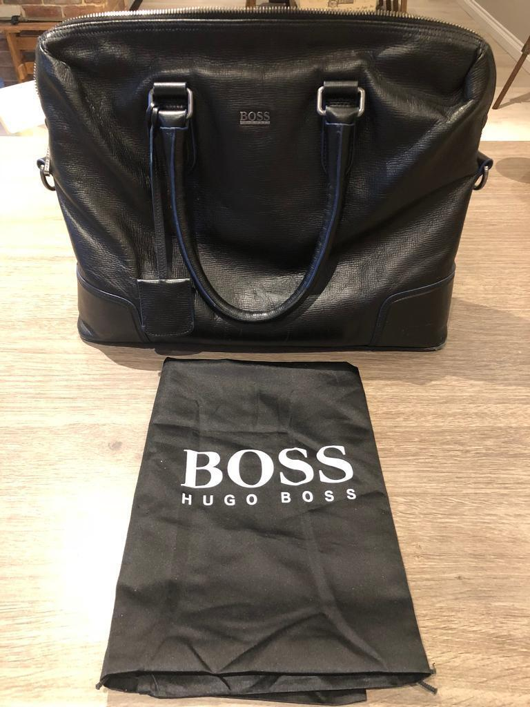 Hugo Boss leather briefcase   laptop bag  6c9f4ac055a6c