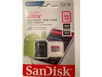SanDisk Ultra micro SDXC UHS-I card with adapter 512 GB , Speed up to 100 MB/s
