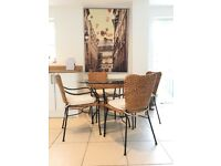 M&S rattan & glass dining table & chairs