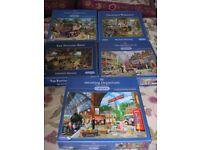 JIGSAW PUZZLES JOB LOT OF 50 1000 PIECE PUZZLES,GIBSON, HOP, FALCON, RAVENSBURGER ETC
