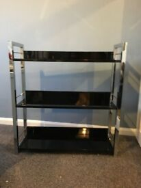 Wayfair black gloss and chrome shelving unit in very good condition