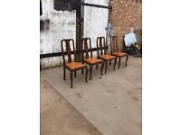 4 x Oak Dining Chairs with Leather Pads (H)