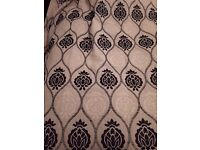 """Cream and Black patterned curtains, 90"""" drop x 72"""" width, immaculate condition"""
