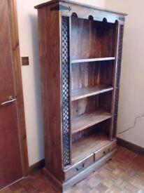 Jali Sheesham Solid Hardwood Bookcase with Wrought Iron detail