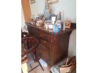 Large antique dark oak sideboard