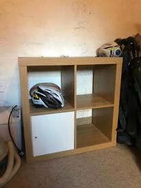 IKEA Kallax 2 x 2 square unit in Oak effect with white door. Delivery possible within reason!