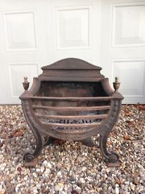 Large cast iron Queen Anne style fire basket
