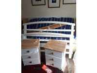 Pine bedroom set painted in antique white chalk paint