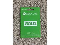 Xbox One Live Gold 3 Months
