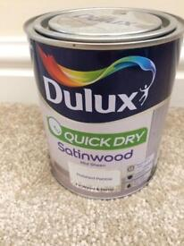 Dulux quick dry satinwood mid sheen polished pebble for metal/wood 750ml new
