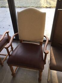 Six quality dining room chairs including two carver chairs