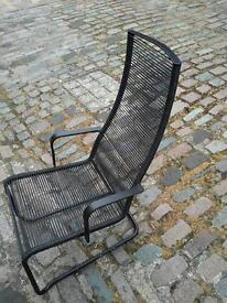 BLACK METAL AND ELASTIC LOUNGER CHAIR SEAT