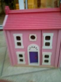 Melissa and doug wooden dolls house with extras