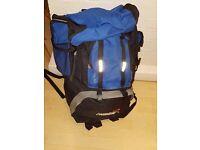 Extra large blue/black hiking back pack