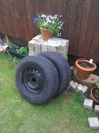 Two Trailer or Caravan wheels with tyres .