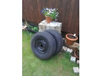 Two Trailer or Caravan wheels with tyres .