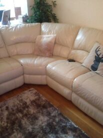 Real leather cream recliner corner group