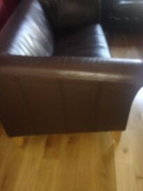3-4 -Seater Contemporary Soft Leather Sofa Brown Beautiful Very Lightly Used