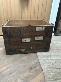 Vintage Wooden Vauxhall Car Parts Storage/Packing Crate