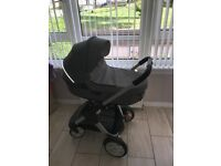 Stokke pram with carrycot & stokke car seat with baby bag