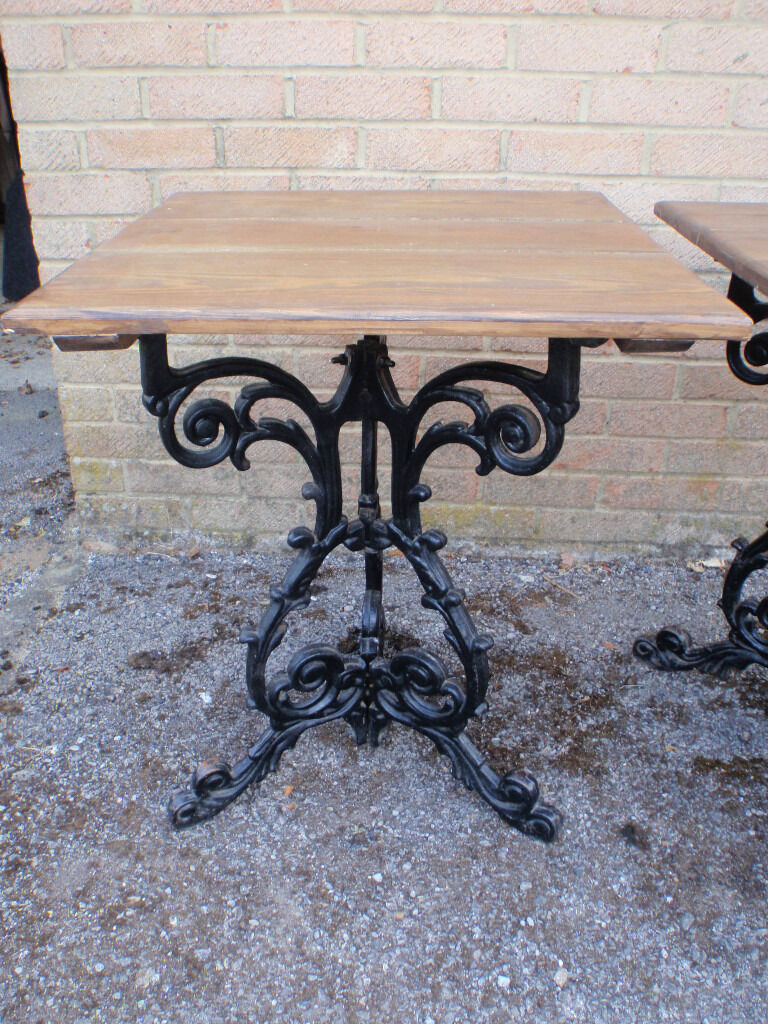 With massive wood top and iron cast base - Vintage Cast Iron Base Solid Wood Plank Top Square Bistro Patio Garden Image 1 Of 6