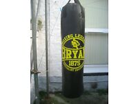 hanging punch bag and gloves