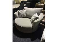 Swivel armcgair-grey fabric