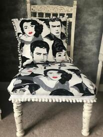 Shabby chic statement occasional chair Hollywood icon