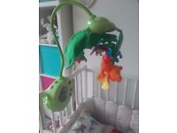 Fisher Price Rainforest Peek-A-Boo Leaves Musical Cot Mobile £15 includes remote and instructions