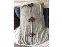 Festival skirt M/L silver grey with embroidered detail