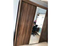 Large wardrobe - Walnut/mirror (Great condition)