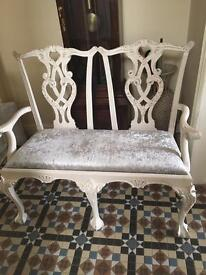 2 seater ball n claw feet carved chair