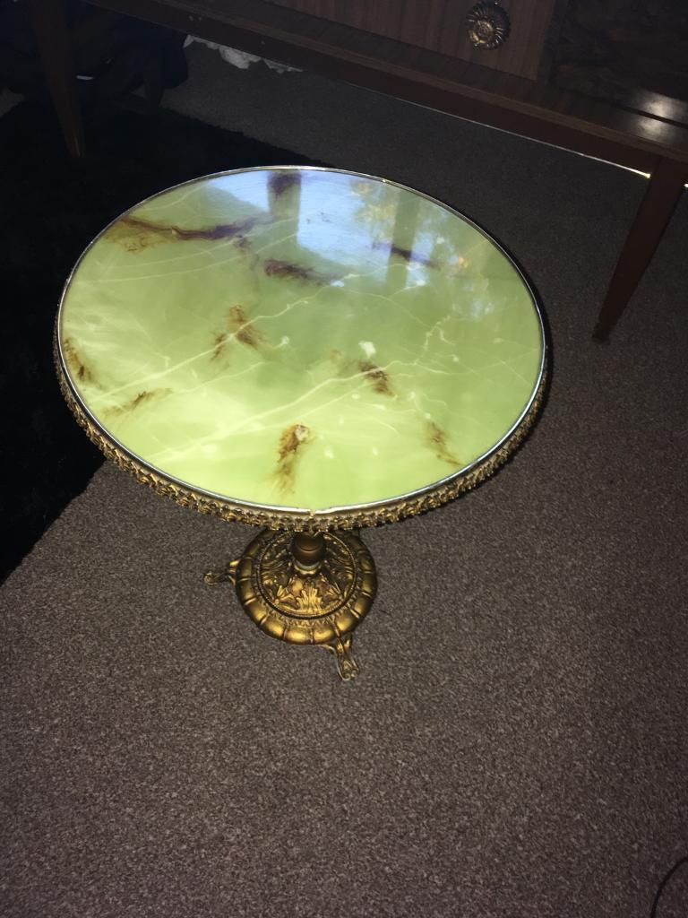 Brass and marble vintage side table