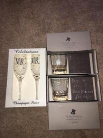 Wedding gift set - best man & usher thank you gifts plus Mr & Mrs champagne glasses