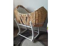 Moses basket , mattress and stand