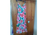 Floral cotton midi dress. Size 14L