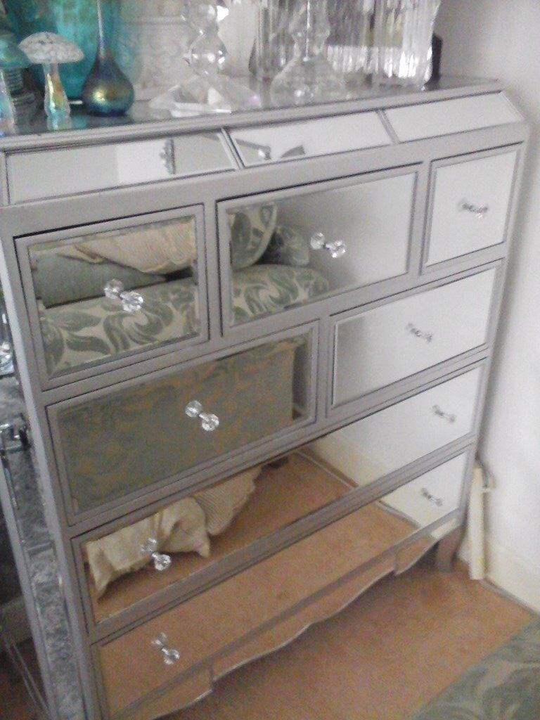 Mirrored 7 Draw Chest Of Drawers