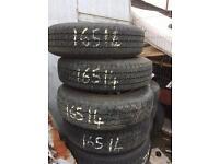 4 x 165x14 van tyres on fiat scudo steel rims