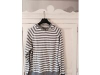 River Island Grey&White Hoodie Size Large