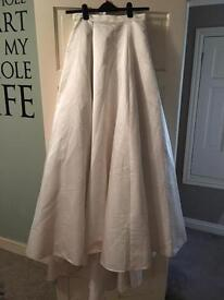 Wedding satin skirt, netted with small train