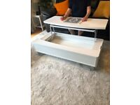 Elevated storage coffee table. Laminate finish. As new