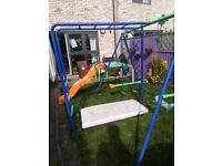 Colourful climbing frame : swing , 2 seater swing , slide and monkey bars