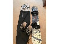 Heli 161cm snowboard with Burton bindings and Burton boots
