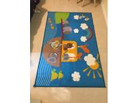 Children's Noah's Ark Blue Rug: 100 cm x 160 cm
