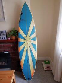 6'4 Shortboard, Squash Tail, FCS Fins.