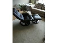 Ex massage real leather recliner chair and foot stool.