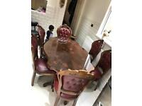 Vintage Dining table set with 8 chairs