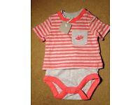 NEW. Tu Baby Orange/ grey t-shirt vest- up to 3 months